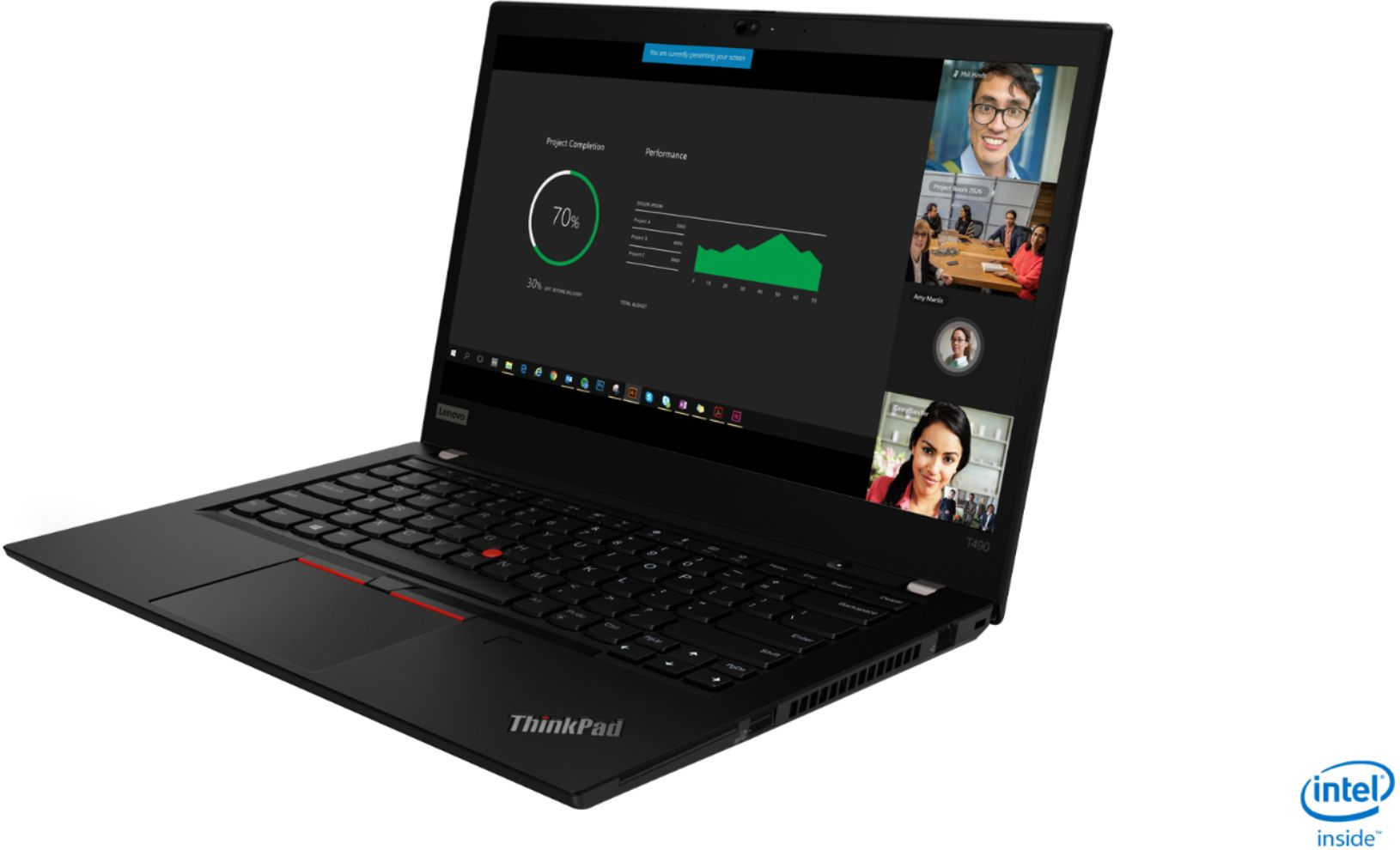 "Left Zoom. Lenovo - ThinkPad T490 14"" Laptop - Intel Core i7 - 8GB Memory - 256GB Solid State Drive - Black."