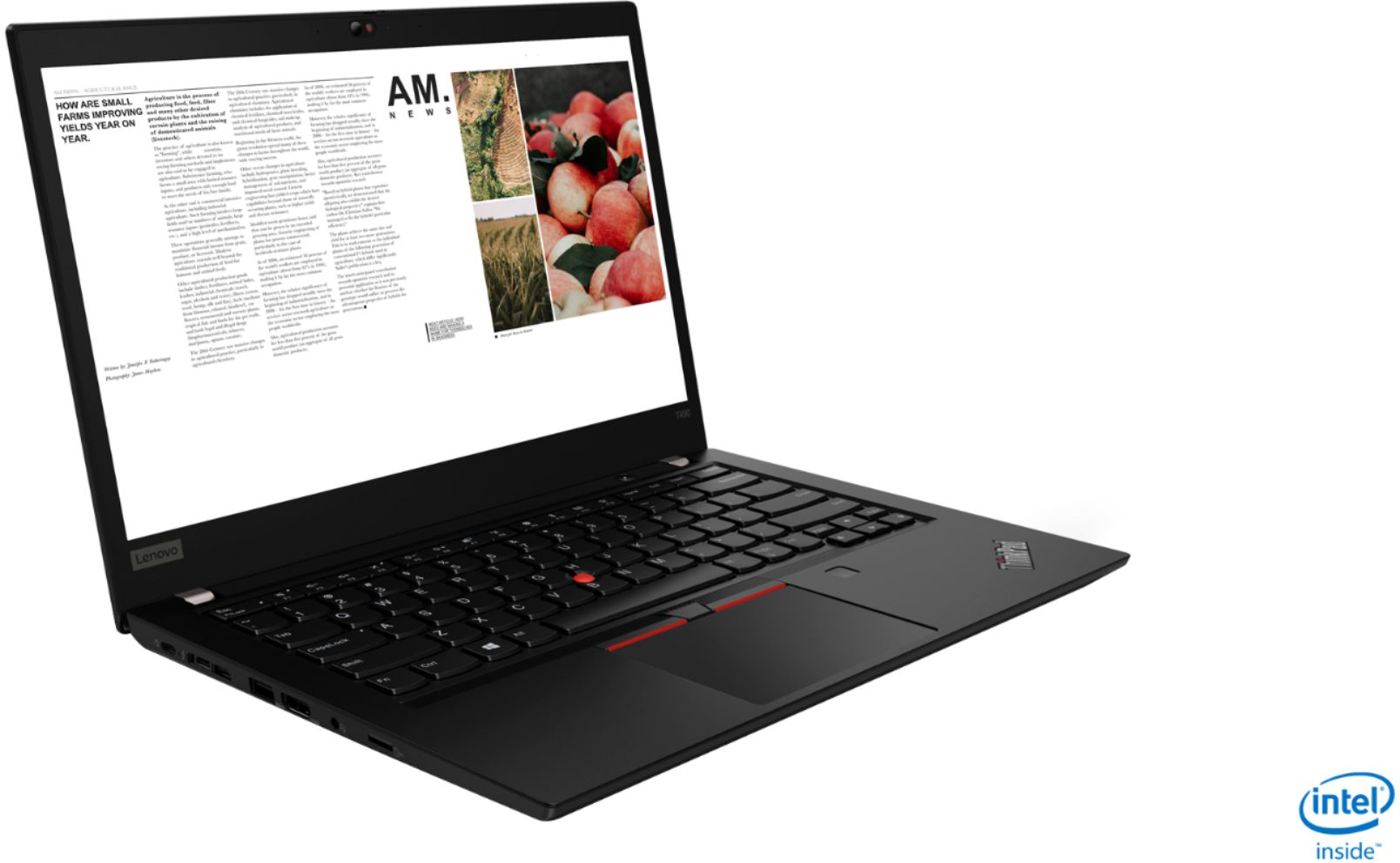 "Angle Zoom. Lenovo - ThinkPad T490 14"" Laptop - Intel Core i7 - 8GB Memory - 256GB Solid State Drive - Black."