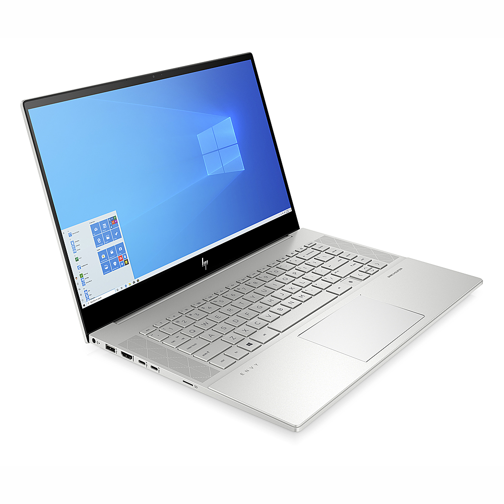 "Left Zoom. HP ENVY 15.6"" Touch Laptop Intel Core i7-10750H 16GB RAM 512GB SSD NVIDIA GeForce GTX 1650 Ti 4 GB GDDR6 Win10 Silver."