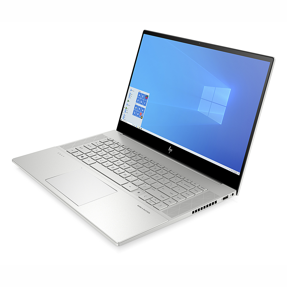 "Angle Zoom. HP ENVY 15.6"" Touch Laptop Intel Core i7-10750H 16GB RAM 512GB SSD NVIDIA GeForce GTX 1650 Ti 4 GB GDDR6 Win10 Silver."