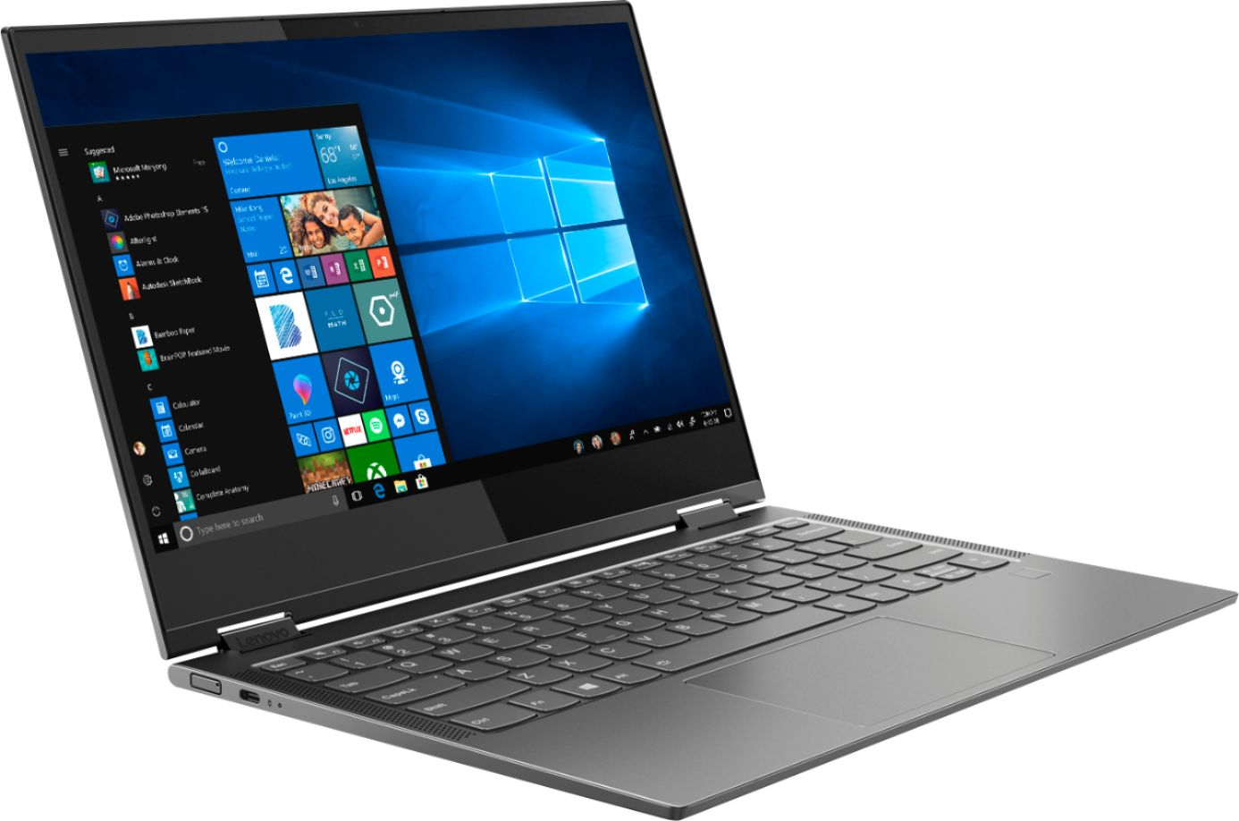 """Angle Zoom. Lenovo - Yoga C630 WOS 2-in-1 13.3"""" Touch-Screen Laptop - Snapdragon 850 - 8GB Memory - 128GB Solid State Drive (Verizon) - Iron Gray."""