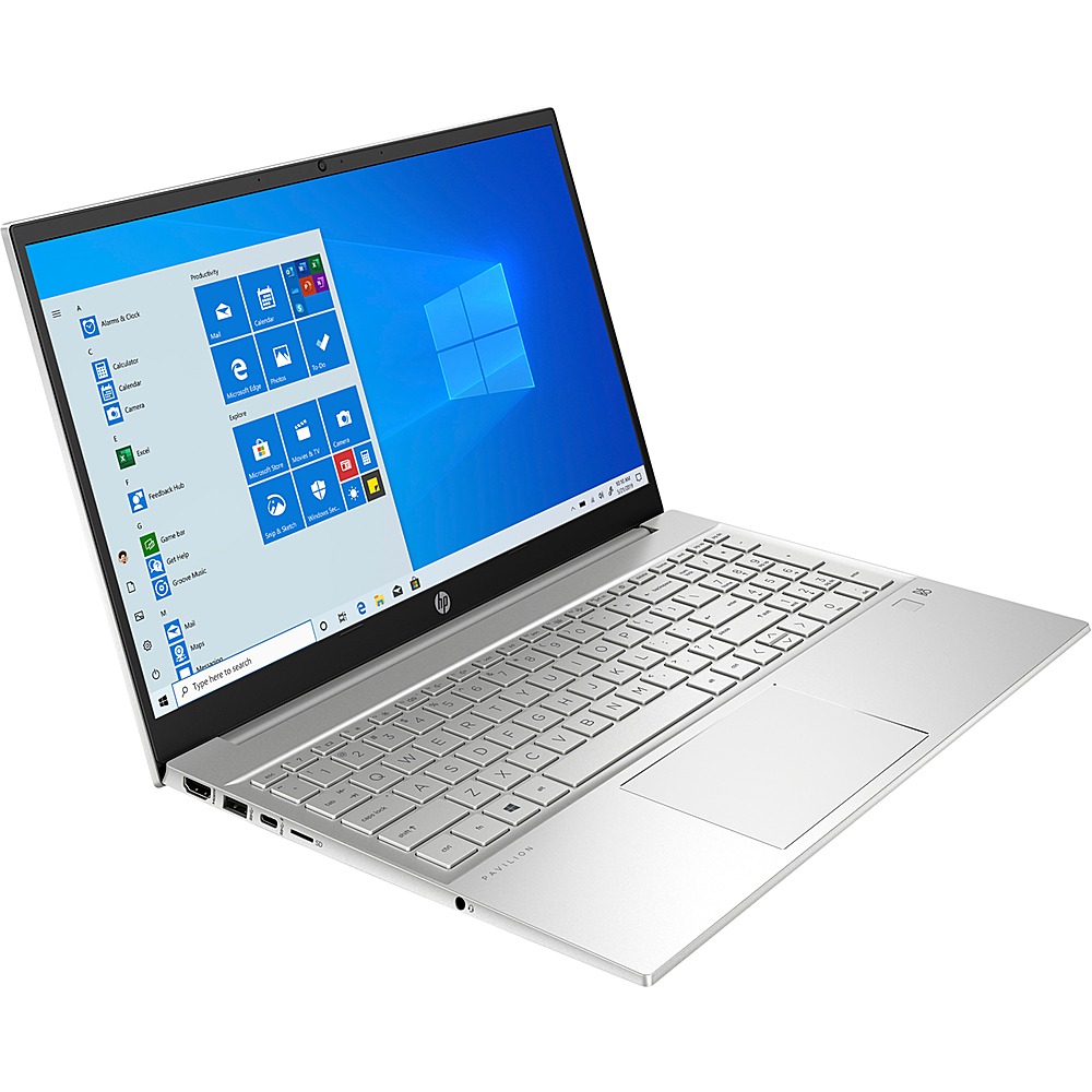 "Left Zoom. HP - Pavilion 15.6"" Laptop - AMD Ryzen 5 4500U - 8GB Memory - 512GB Solid State Drive - Silver - Silver."