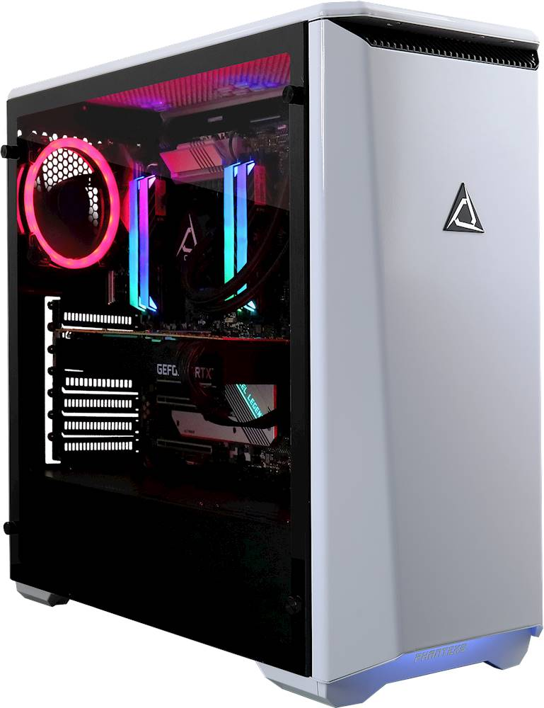 Angle Zoom. CybertronPC - CLX SET Gaming Desktop - Intel Core i9-10900X - 32GB Memory - NVIDIA GeForce RTX 2080 Ti - 3TB HDD + 960GB SSD - White/Red.