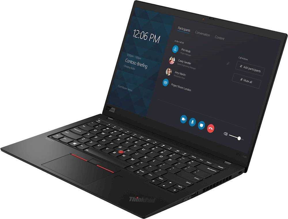 """Left Zoom. Lenovo - ThinkPad X1 Carbon 14"""" Touch-Screen Laptop - Intel Core i7 - 8GB Memory - 256GB Solid State Drive - Black."""