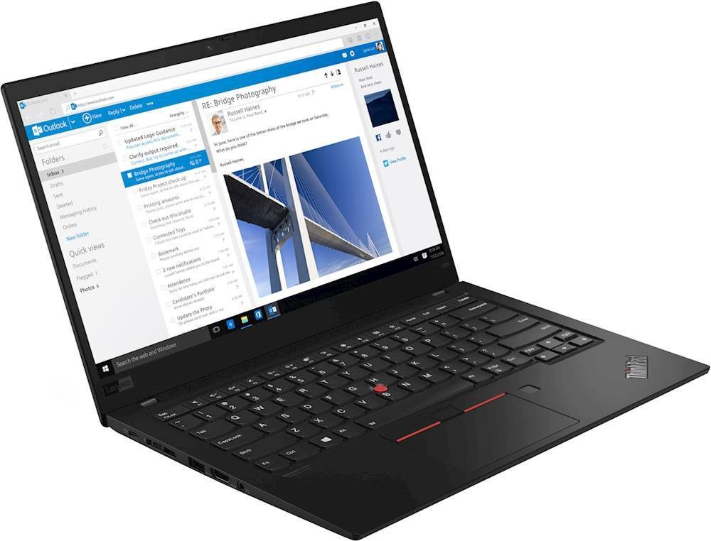 "Angle Zoom. Lenovo - ThinkPad X1 Carbon 14"" Touch-Screen Laptop - Intel Core i7 - 8GB Memory - 256GB Solid State Drive - Black."
