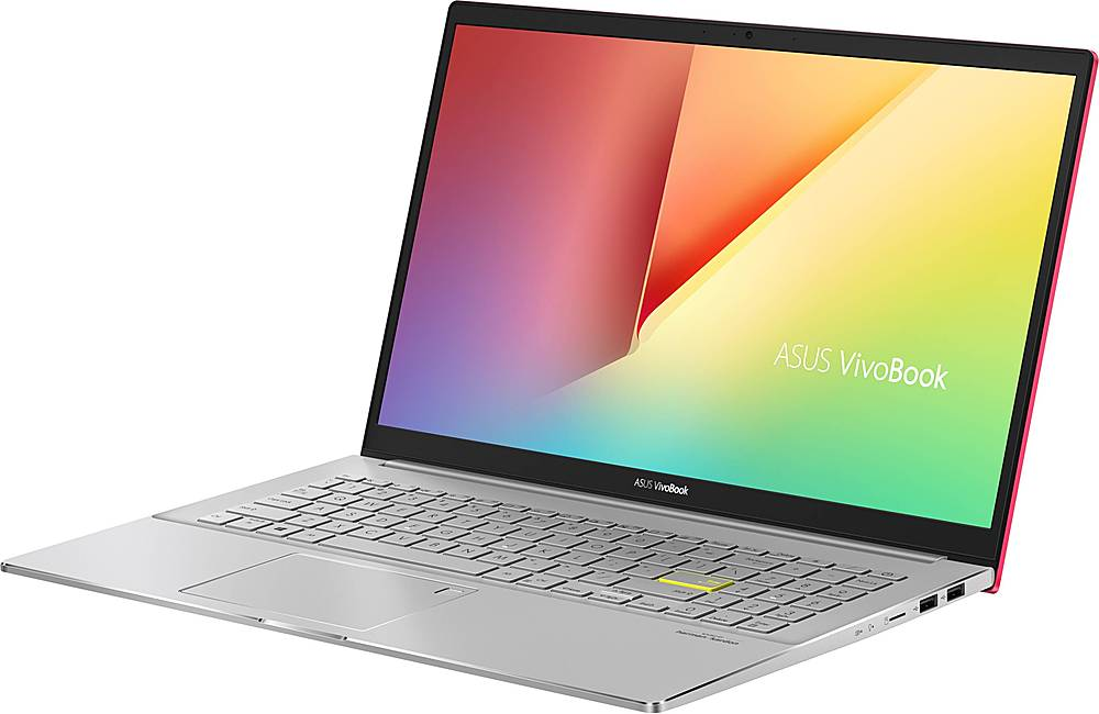 """Left Zoom. ASUS - VivoBook S15 15.6"""" Laptop - Intel Core i5 - 8GB Memory - 512GB SSD - Resolute Red/Transparent Silver."""