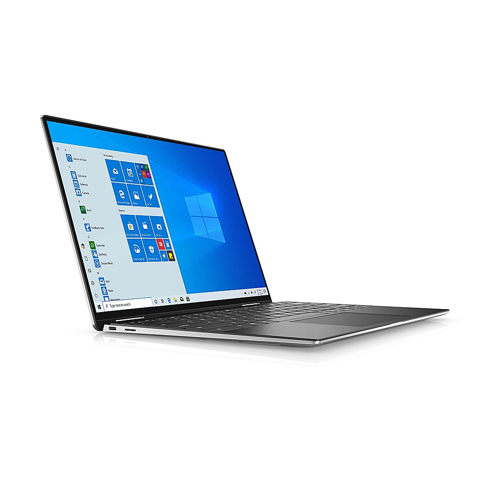 "Angle Zoom. Dell - XPS 13.4"" 2-in-1 Touch UHD+ Laptop - Intel Core i7- 32GB Memory - 1TB Solid State Drive - Platinum Silver, Black interior."