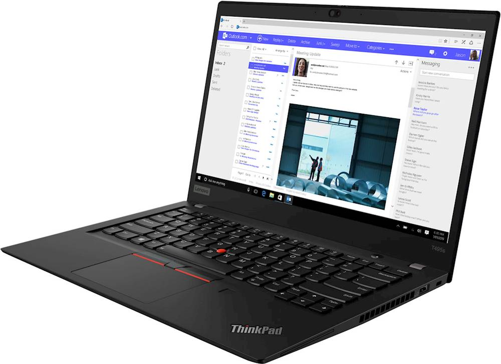 "Left Zoom. Lenovo - ThinkPad T495s 14"" Touch-Screen Laptop - AMD Ryzen 7 PRO - 16GB Memory - 512GB Solid State Drive - Black."