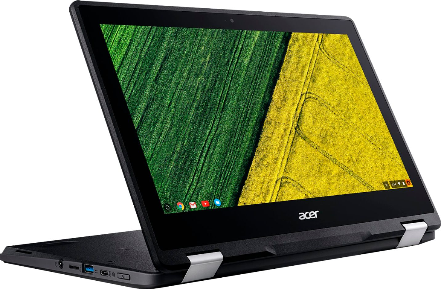 """Left Zoom. Acer - Spin 11 2-in-1 11.6"""" Touch-Screen Chromebook - Intel Celeron - 4GB Memory - 32GB eMMC Flash Memory - Obsidian Black."""