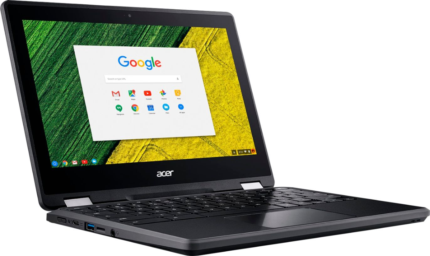 """Angle Zoom. Acer - Spin 11 2-in-1 11.6"""" Touch-Screen Chromebook - Intel Celeron - 4GB Memory - 32GB eMMC Flash Memory - Obsidian Black."""