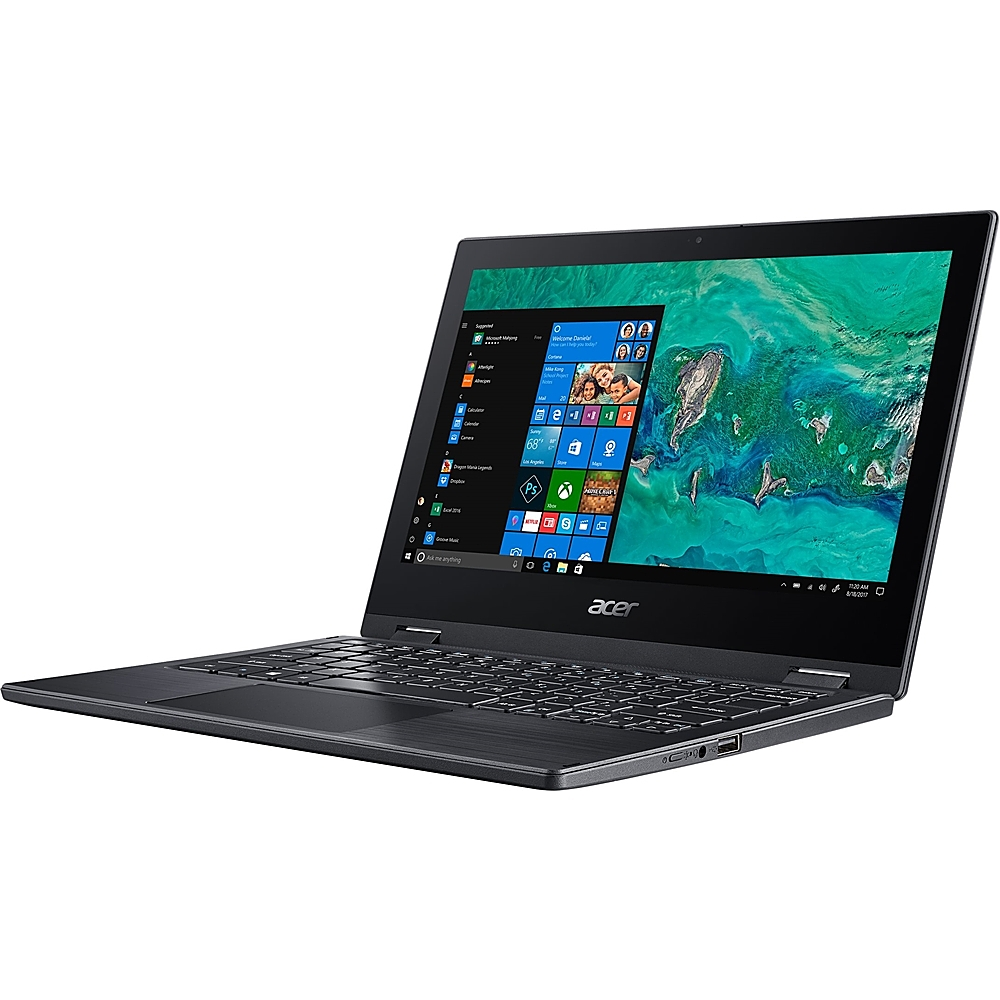 """Alt View Zoom 11. Acer - Spin 1 2-in-1 11.6"""" Refurbished Touch-Screen Laptop - Intel Pentium Silver - 4GB Memory - 64GB eMMC Flash Memory - Obsidian Black."""