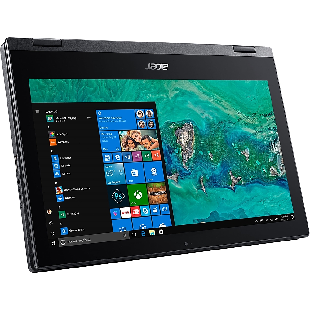 """Left Zoom. Acer - Spin 1 2-in-1 11.6"""" Refurbished Touch-Screen Laptop - Intel Pentium Silver - 4GB Memory - 64GB eMMC Flash Memory - Obsidian Black."""