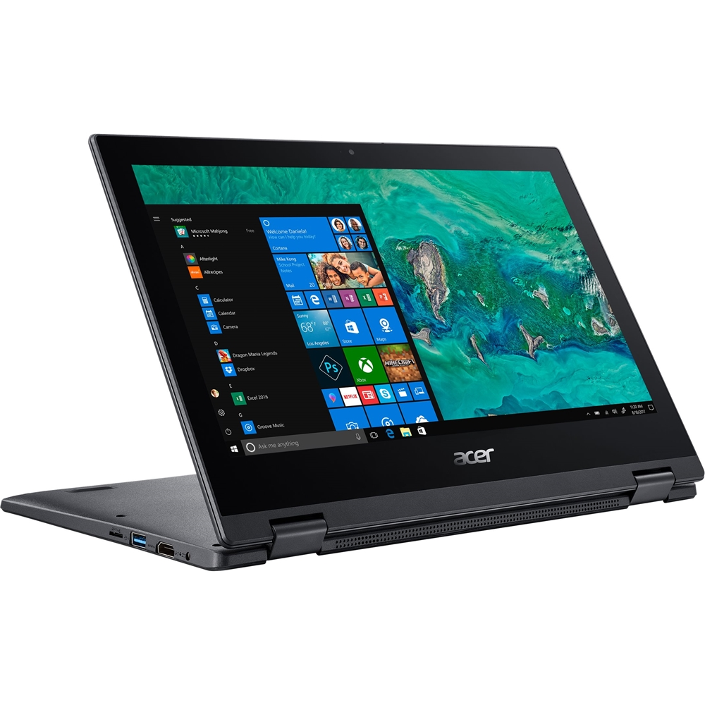 """Alt View Zoom 12. Acer - Spin 1 2-in-1 11.6"""" Refurbished Touch-Screen Laptop - Intel Pentium Silver - 4GB Memory - 64GB eMMC Flash Memory - Obsidian Black."""