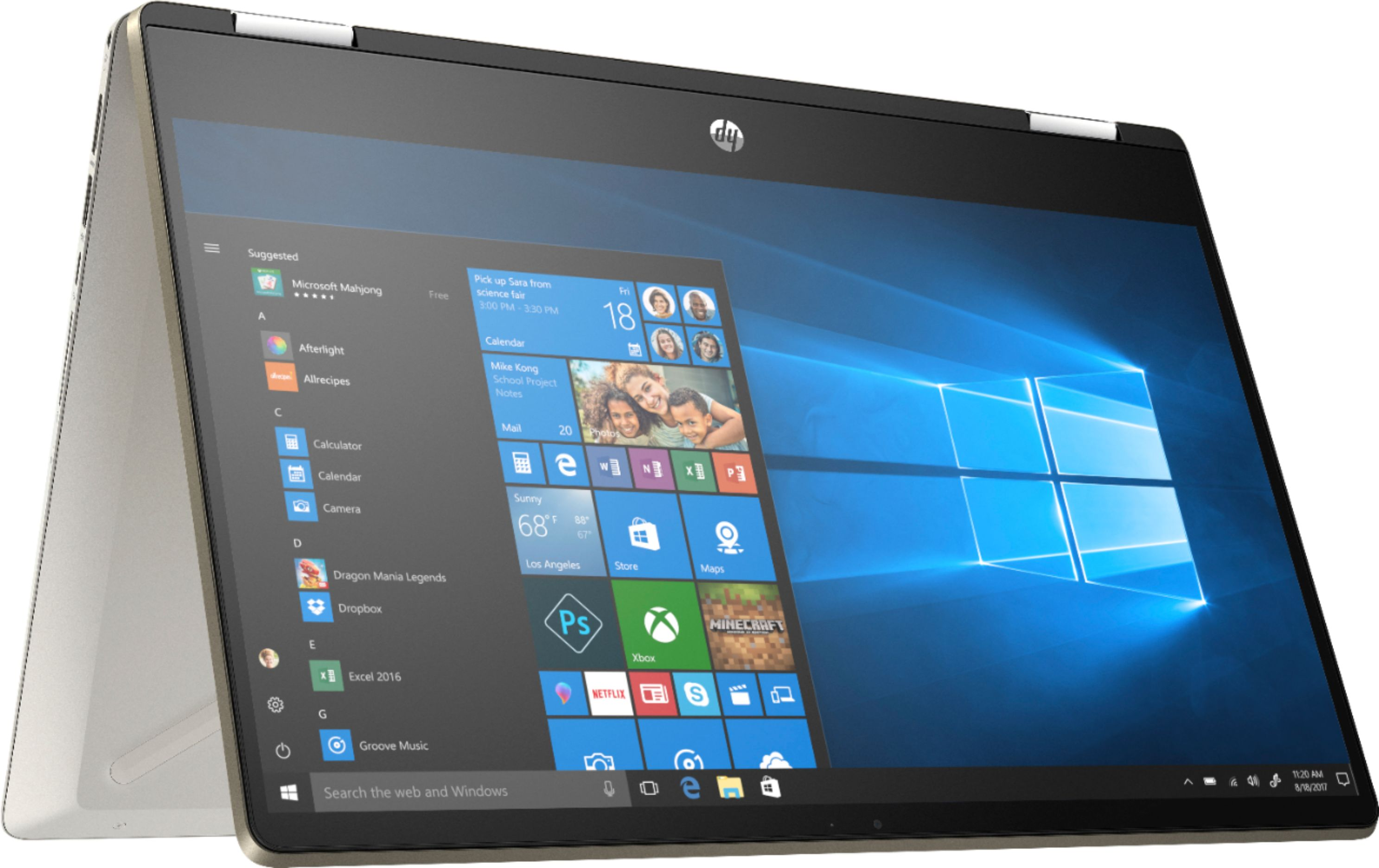 """Angle Zoom. HP - Geek Squad Certified Refurbished Pavilion x360 2-in-1 14"""" Touch-Screen Laptop - Intel Core i5 - 8GB Memory - 128GB SSD - Anodized Finish In Warm Gold And Luminous Gold."""