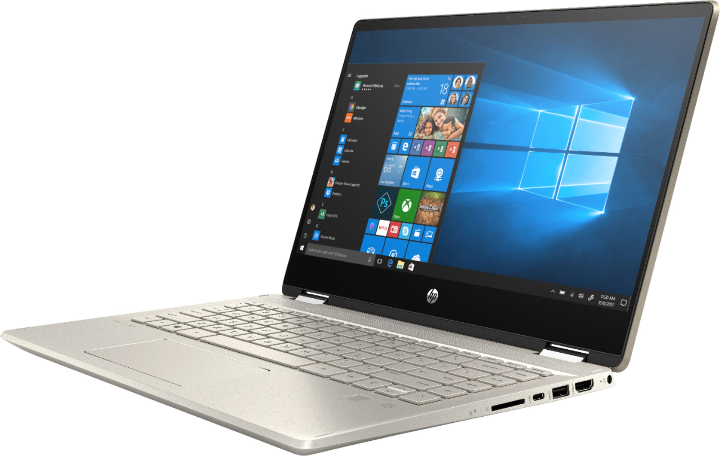 """Left Zoom. HP - Geek Squad Certified Refurbished Pavilion x360 2-in-1 14"""" Touch-Screen Laptop - Intel Core i5 - 8GB Memory - 128GB SSD - Anodized Finish In Warm Gold And Luminous Gold."""