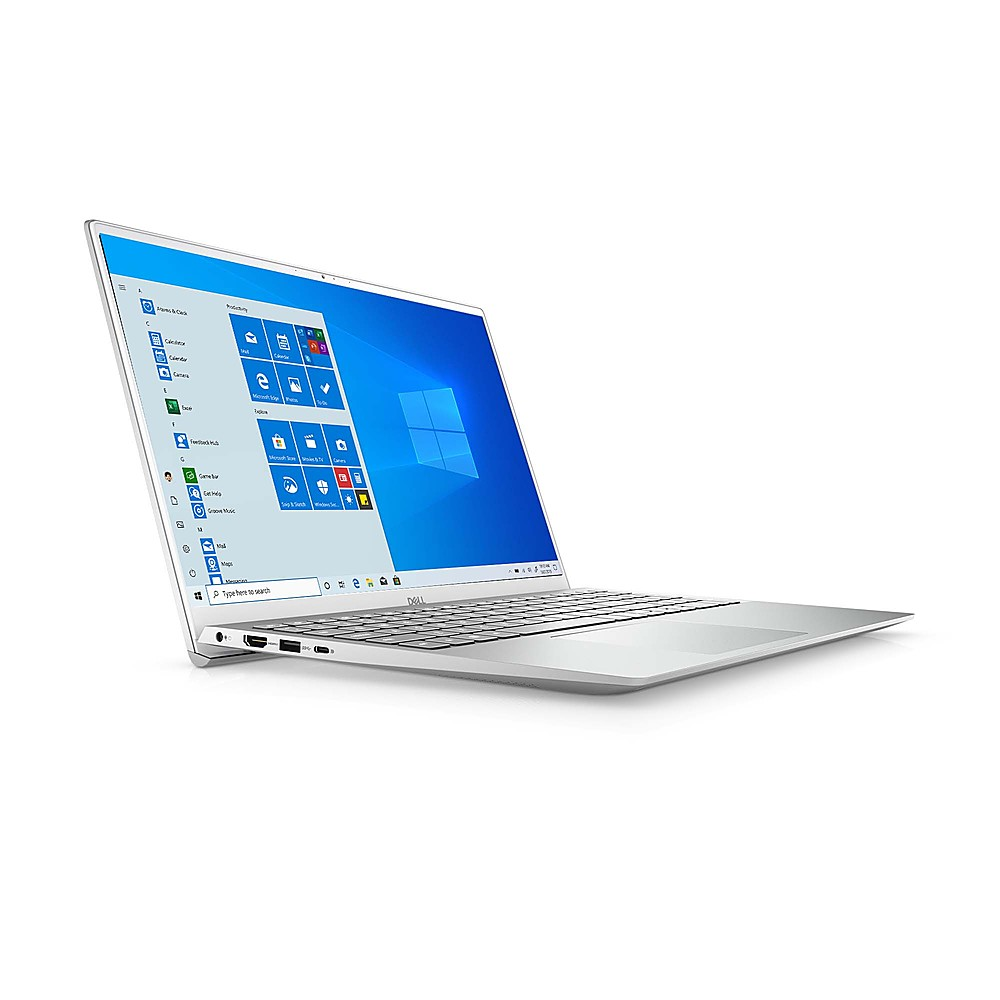 """Angle Zoom. Dell - Inspiron 15.6"""" FHD Laptop - 11th Gen Intel Core i5 - 12GB Memory- 512GB SSD Solid State Drive - Silver."""