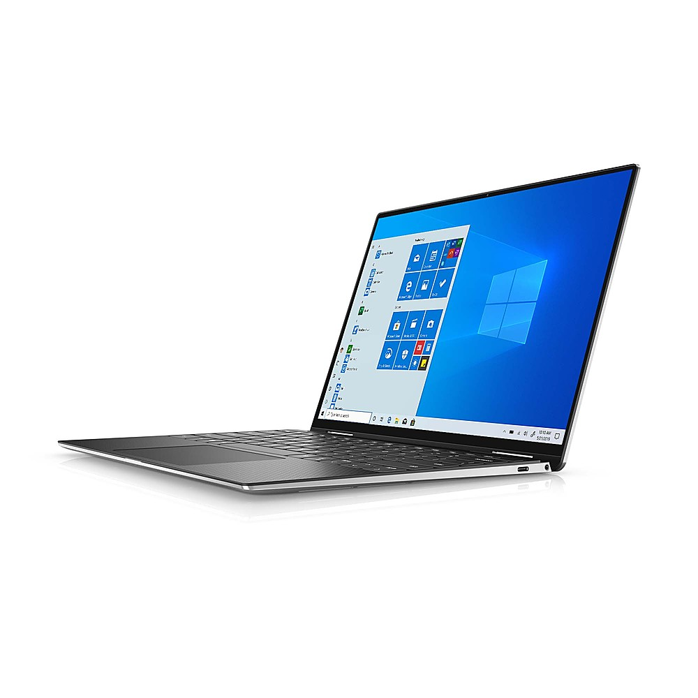 """Left Zoom. Dell - XPS 13.4"""" 2-in-1 Touch FHD+ Laptop - Intel Core i7- 16GB Memory - 256GB Solid State Drive - Platinum Silver, Black interior."""