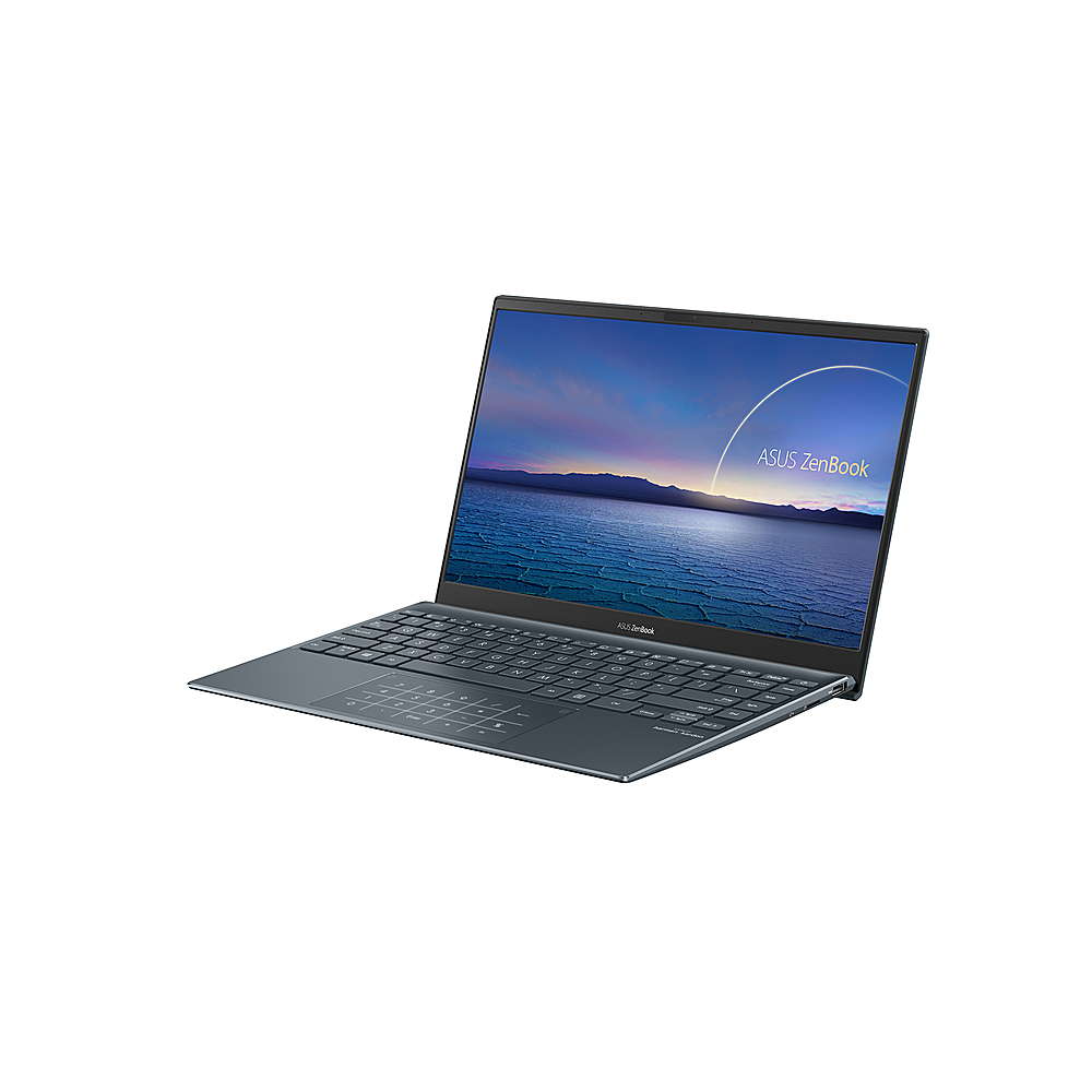 "Left Zoom. ASUS - ZenBook - 13.3"" Ultra-Slim Laptop - Intel Core i7-1065G7- 8GB 512GB - Win 10 in Pine Grey - Pine Grey."