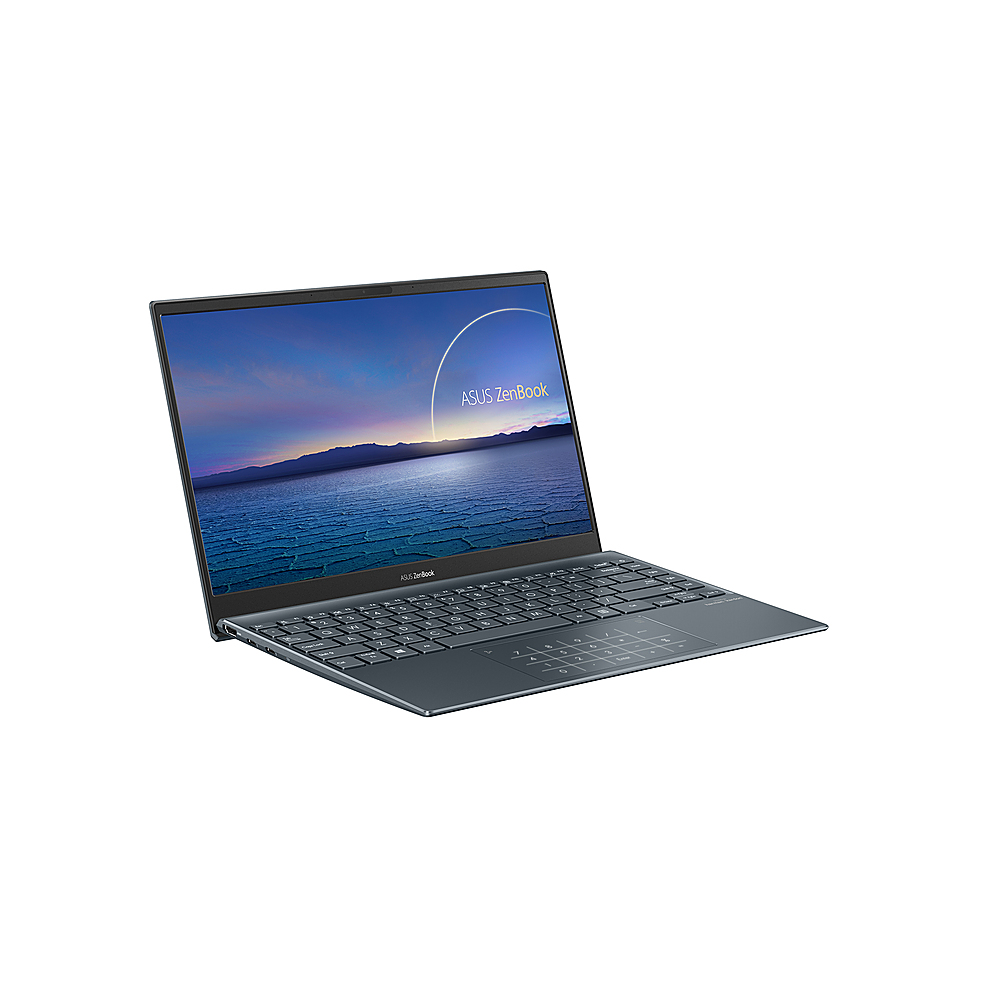 "Angle Zoom. ASUS - ZenBook - 13.3"" Ultra-Slim Laptop - Intel Core i7-1065G7- 8GB 512GB - Win 10 in Pine Grey - Pine Grey."