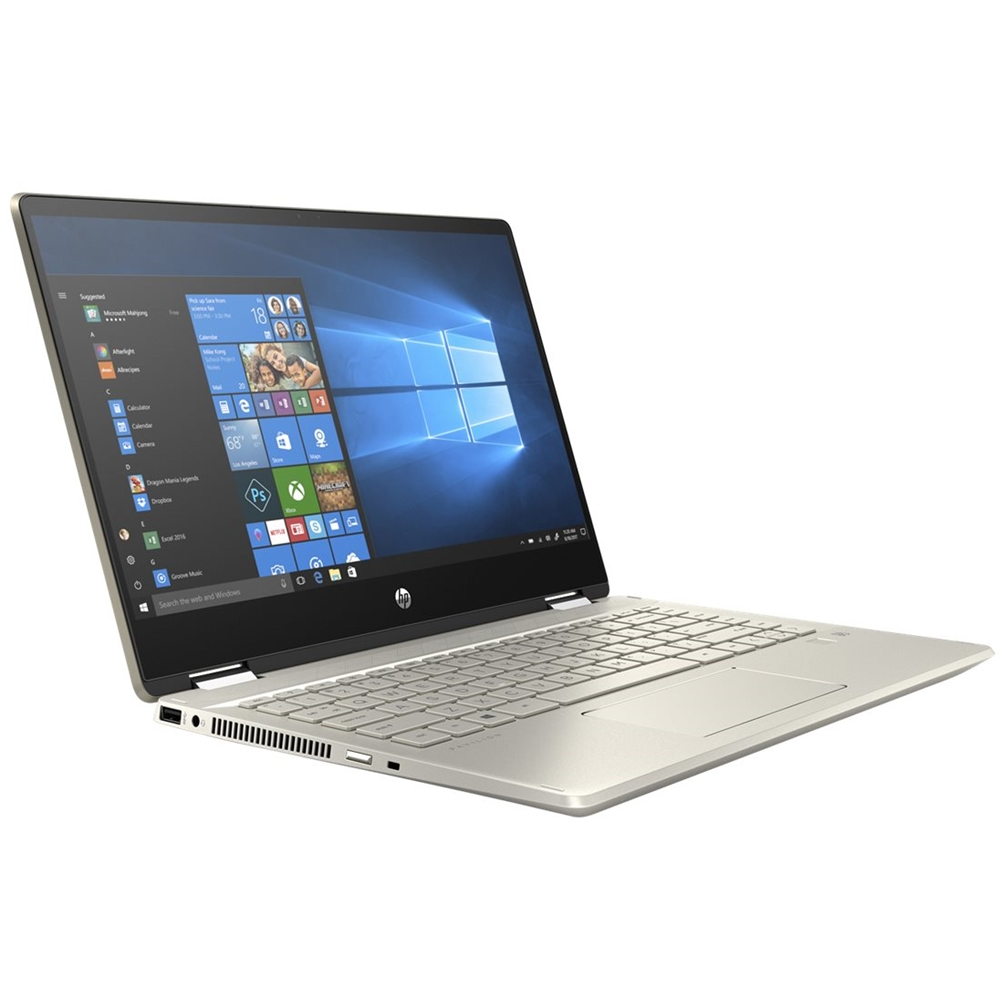 """Left Zoom. HP - Pavilion x360 2-in-1 14"""" Touch-Screen Laptop - Intel Core i5 - 8GB Memory - 256GB SSD - Sandblasted Anodized Finish, Luminous Gold."""