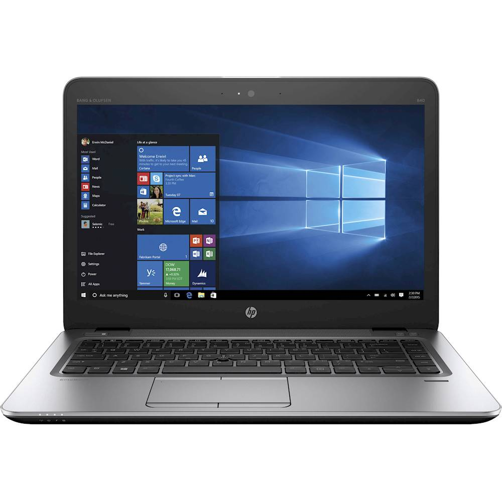 "Front Zoom. HP - EliteBook 14"" Refurbished Laptop - Intel Core i5 - 8GB Memory - 180GB Solid State Drive - Silver."