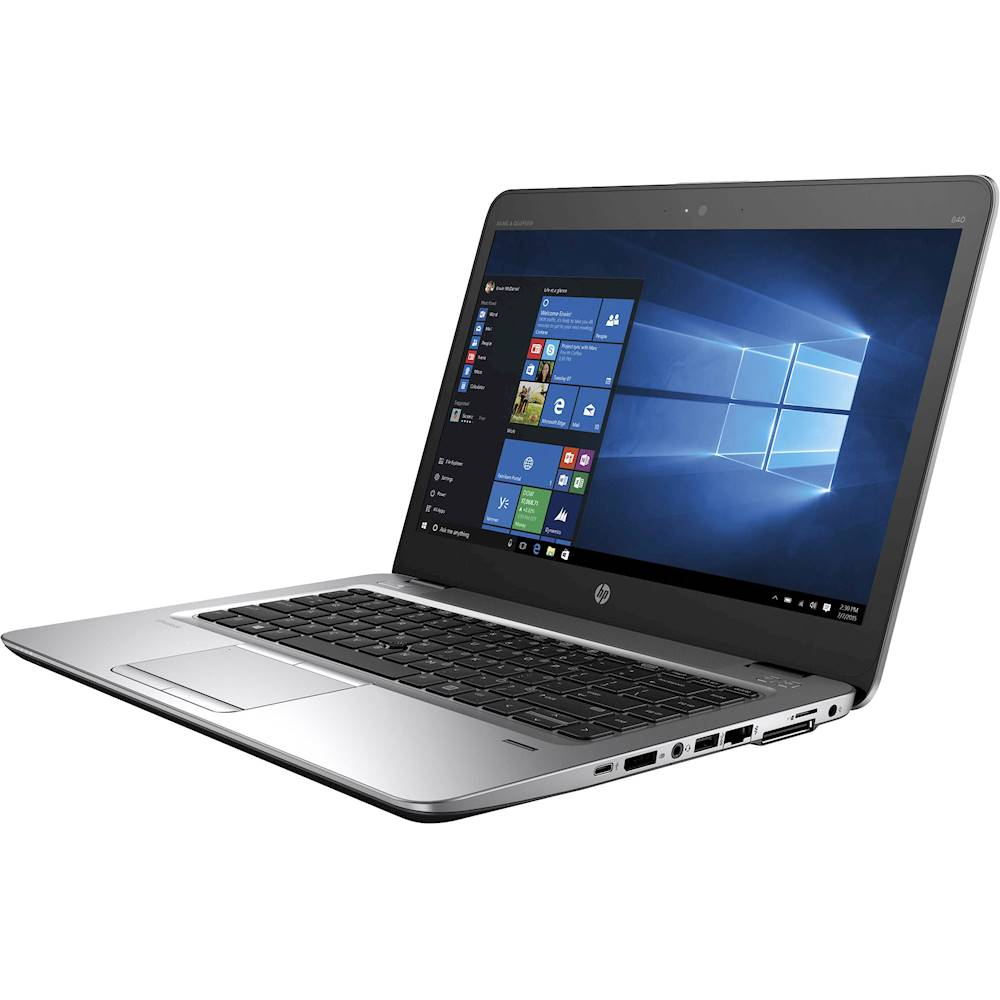 "Left Zoom. HP - EliteBook 14"" Refurbished Laptop - Intel Core i5 - 8GB Memory - 180GB Solid State Drive - Silver."