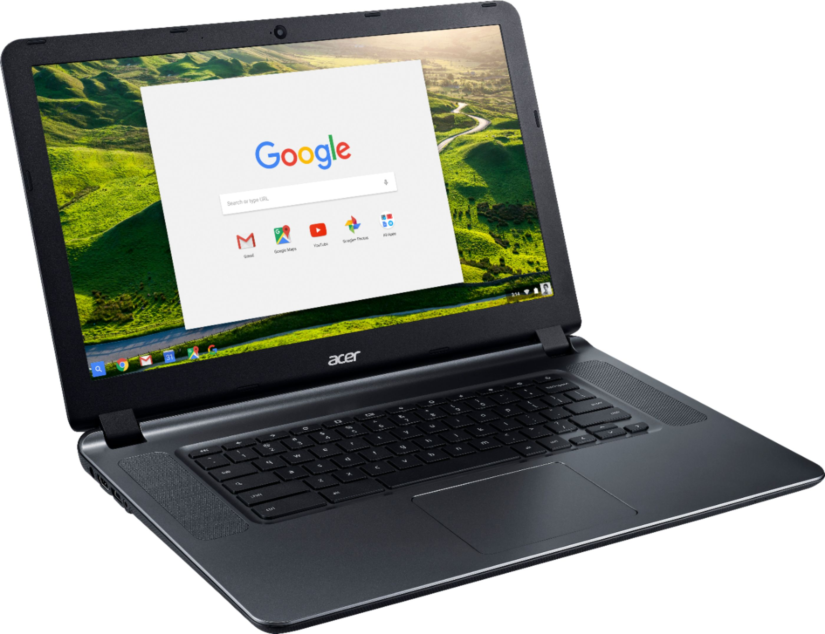 "Angle Zoom. Acer - 15.6"" Chromebook - Intel Atom x5 - 4GB Memory - 16GB eMMC Flash Memory - Granite Gray."