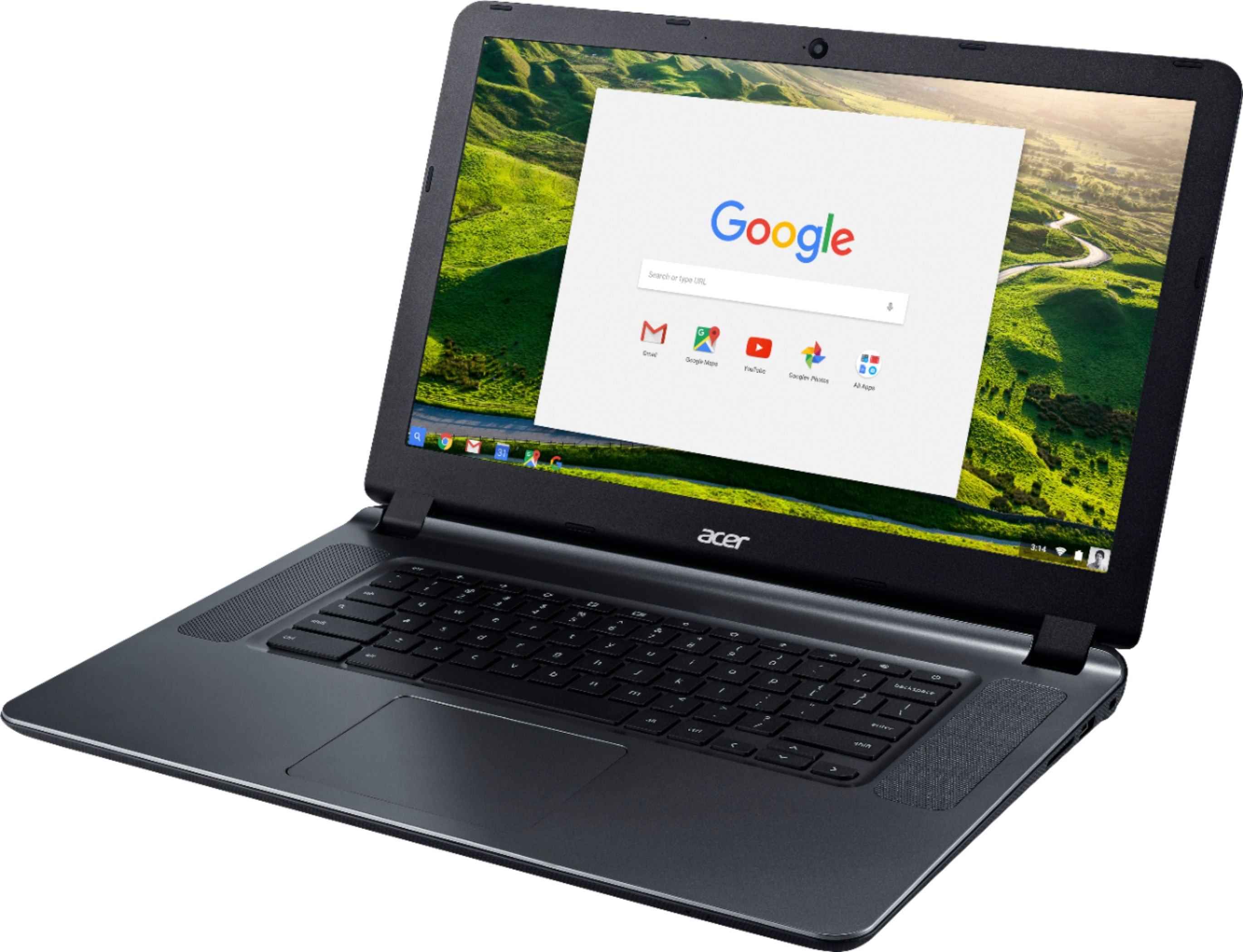 "Left Zoom. Acer - 15.6"" Chromebook - Intel Atom x5 - 4GB Memory - 16GB eMMC Flash Memory - Granite Gray."