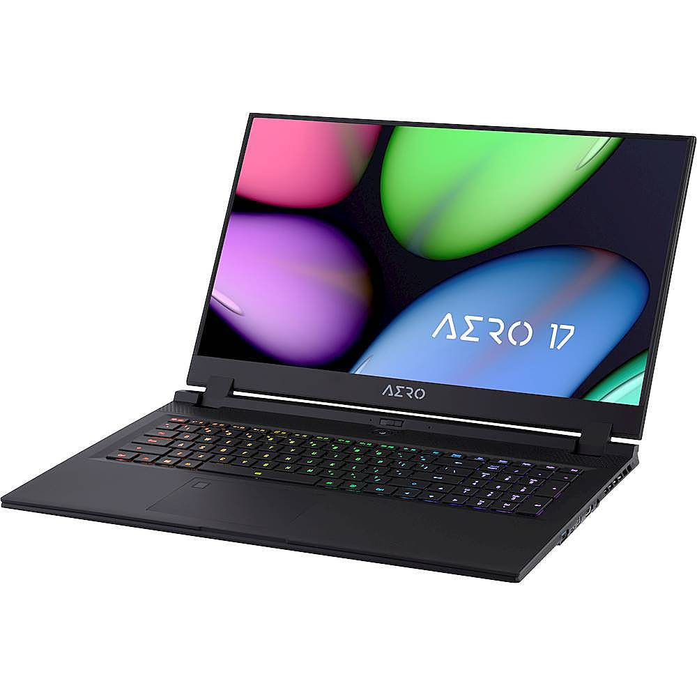 "Left Zoom. Gigabyte - AERO 17 17.3""FHD Laptop - Intel Core i7-10750H - 32GB - NVIDIA GeForce RTX 2080 With Super MAX Q - 512GB SSD - Black."