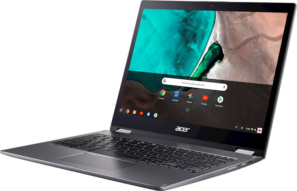 "Left Zoom. Acer - Spin 13 2-in-1 13.5"" Touch-Screen Chromebook - Intel Core i5 - 8GB Memory - 64GB eMMC Flash Memory - Steel Gray."