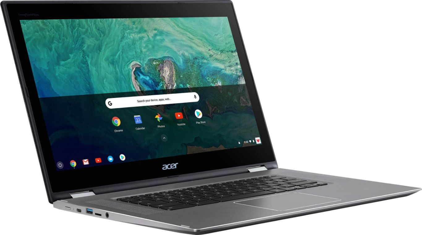 """Angle Zoom. Acer - Spin 15 2-in-1 15.6"""" Touch-Screen Chromebook - Intel Pentium - 4GB Memory - 64GB Solid State Drive - Sparkly Silver."""