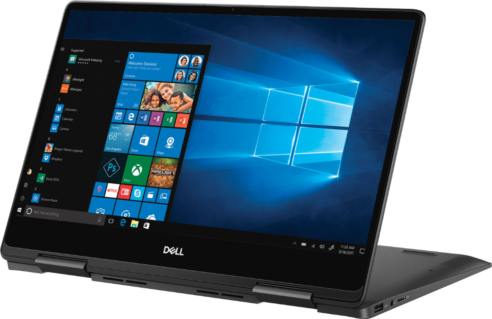 """Left Zoom. Dell - Geek Squad Certified Refurbished Inspiron 13.3"""" 4K Ultra HD Touch-Screen Laptop - Intel Core i7 - 16GB Memory- 256GB SSD - Black."""