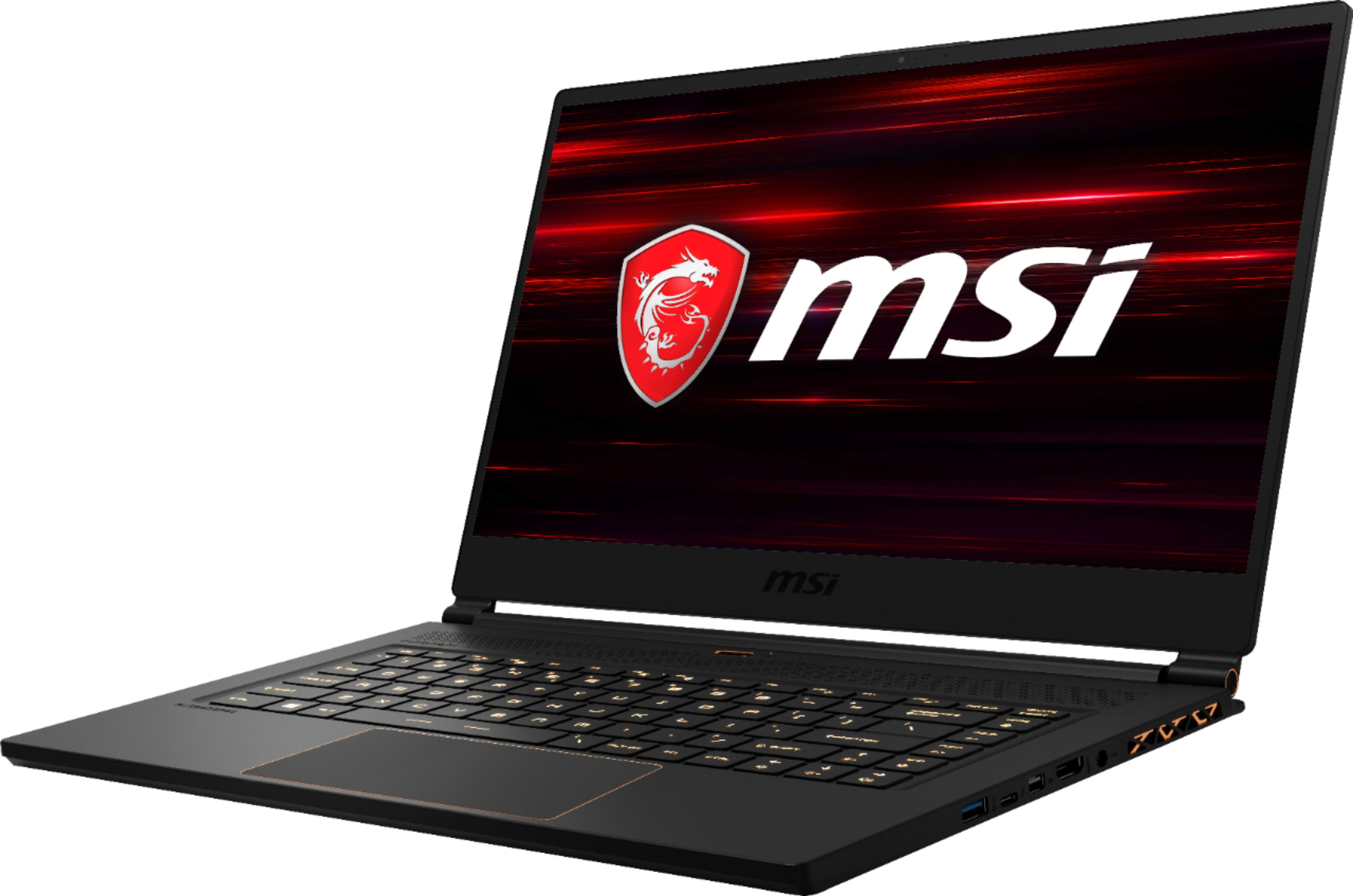 """Left Zoom. MSI - Geek Squad Certified Refurbished 15.6"""" Gaming Laptop - Intel Core i7 - 16GB Memory - NVIDIA GeForce RTX 2060 - 512GB SSD - Matte Black With Gold Diamond Cut."""