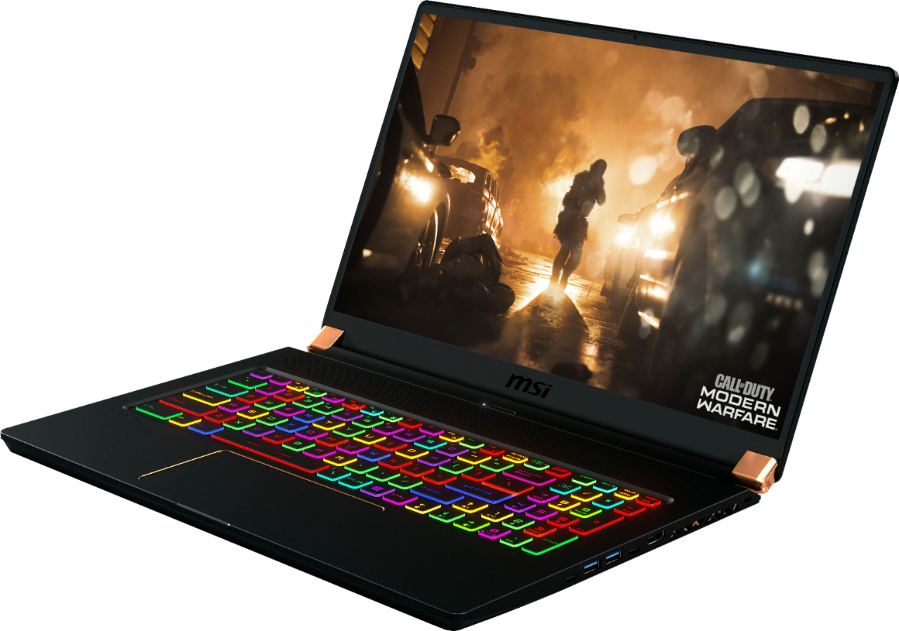 """Left Zoom. MSI - GS Series 17.3"""" Gaming Laptop - Intel Core i7 - 32GB - NVIDIA GeForce RTX 2080 Max-Q - 1TB Solid-State Drive - Matte Black With Gold Diamond Cut."""