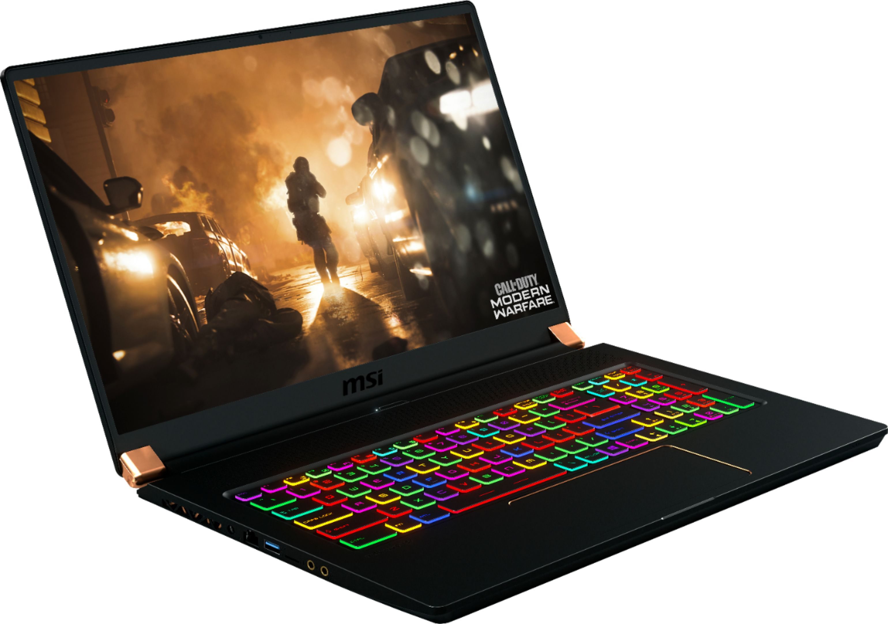 """Angle Zoom. MSI - GS Series 17.3"""" Gaming Laptop - Intel Core i7 - 32GB - NVIDIA GeForce RTX 2080 Max-Q - 1TB Solid-State Drive - Matte Black With Gold Diamond Cut."""