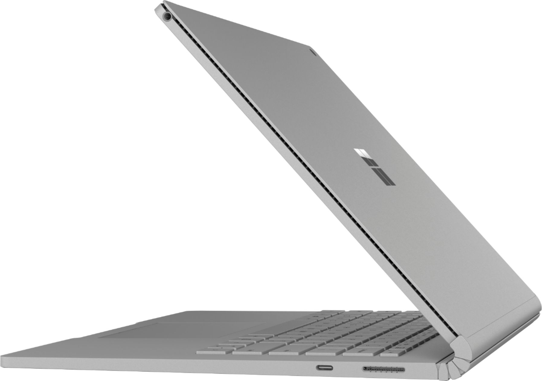 """Left Zoom. Microsoft - Geek Squad Certified Refurbished Surface Book 2 - 13.5"""" Touch-Screen Laptop - Intel Core i7 - 16GB Memory - 512GB SSD - Silver."""
