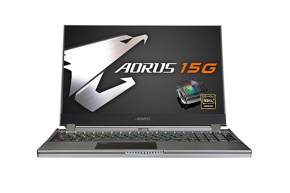 """Front Zoom. GIGABYTE - 15.6"""" FHD Gaming Laptop - Intel Core i7 -  16GB - NVIDIA GeForce RTX 2070 Max-Q -  512 SSD."""