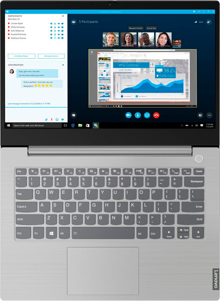 "Angle Zoom. Lenovo - 14"" ThinkBook 14 IIL Laptop - 16GB Memory - Intel Core i7 - 512GB Hard Drive."