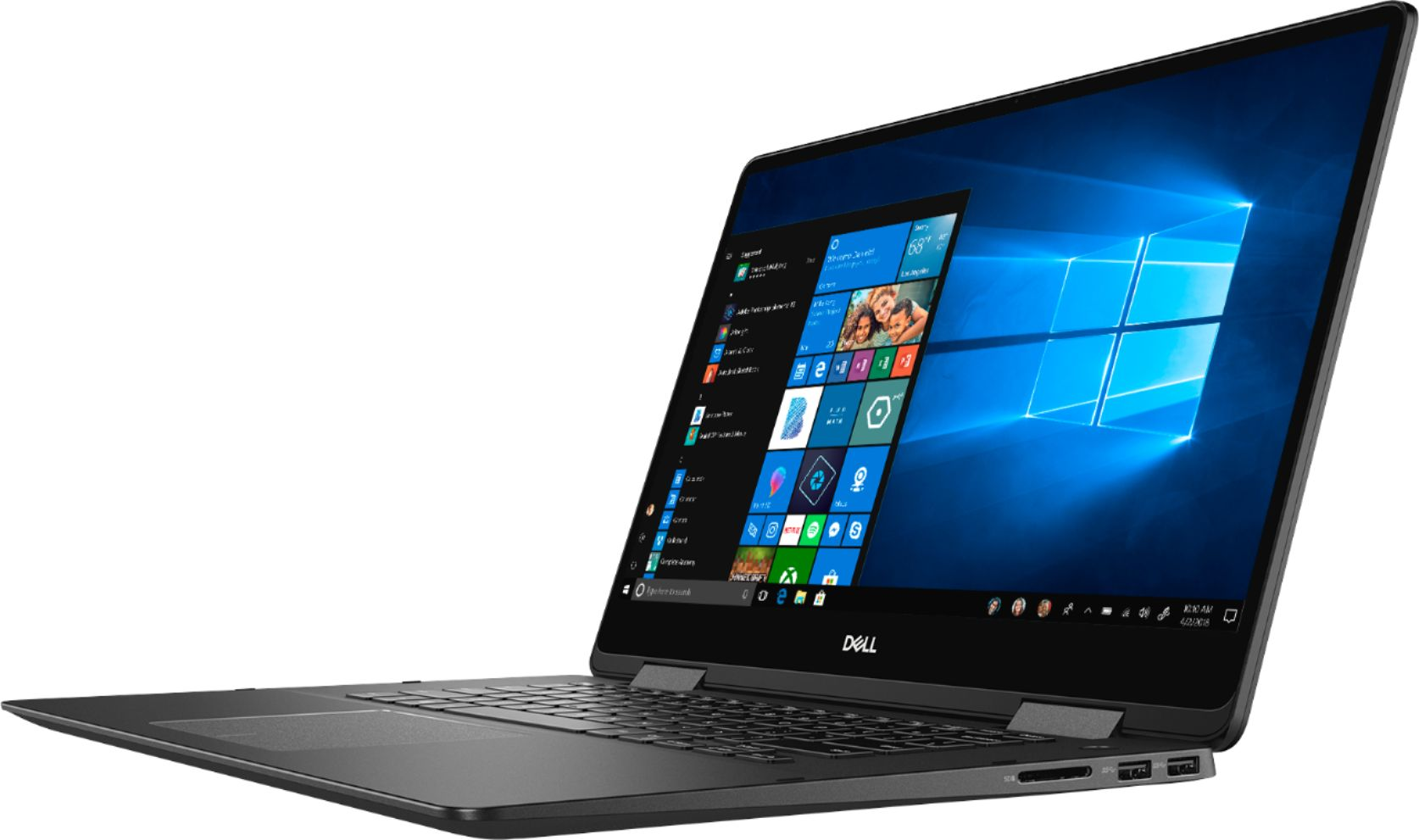 """Left Zoom. Dell - Geek Squad Certified Refurbished Inspiron 15.6"""" 4K Ultra HD Touch-Screen Laptop - Intel Core i7 - 16GB Memory- 512GB SSD - Black."""