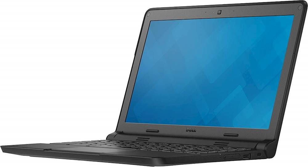 "Left Zoom. Dell - 11.6"" Refurbished Chromebook - Intel Celeron - 4GB Memory - 16GB eMMC Flash Memory - Black."