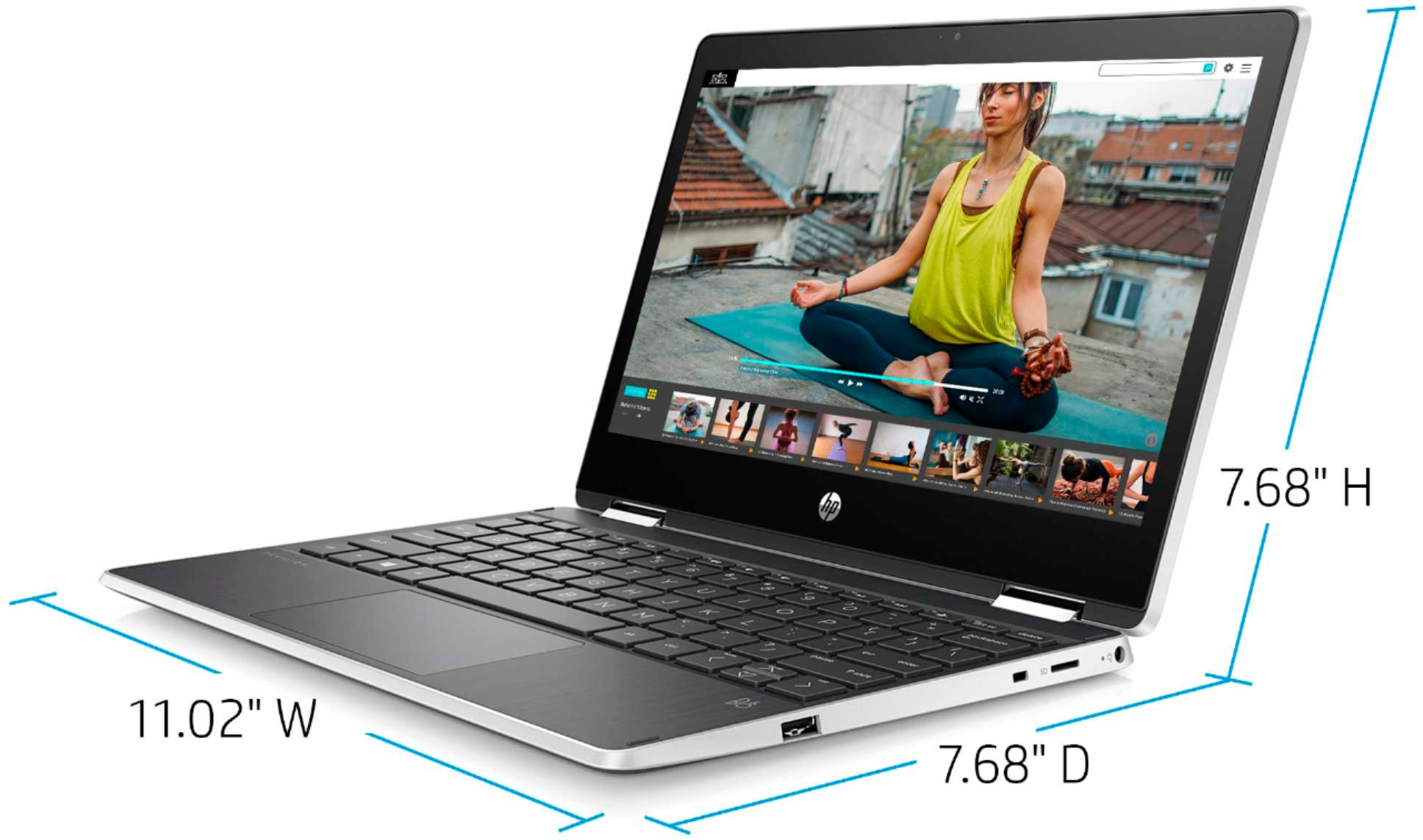 """Left Zoom. HP - Geek Squad Certified Refurbished Pavilion x360 11.6"""" Laptop - Intel Pentium - 4GB Memory - 128GB Solid State Drive - Ash Silver."""