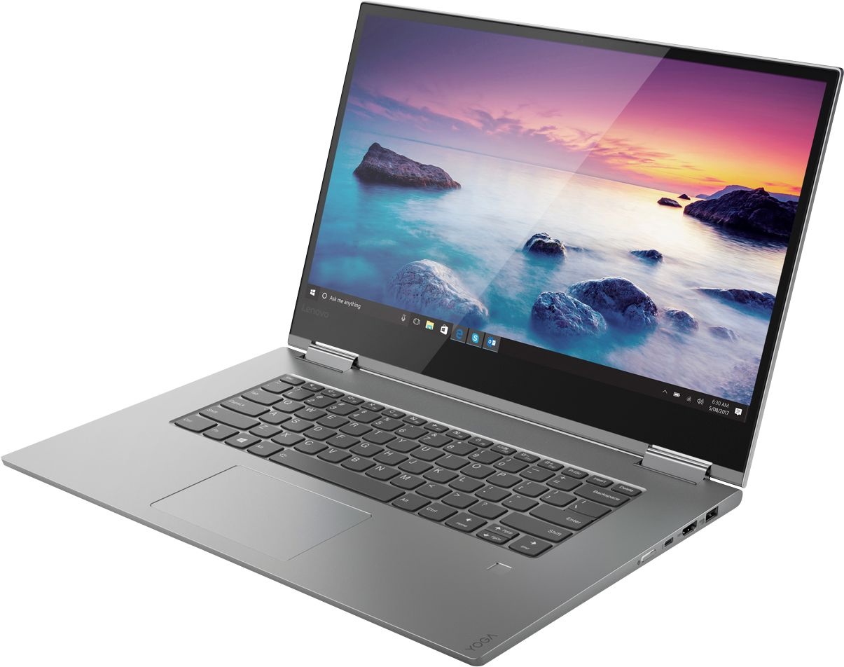 "Left Zoom. Lenovo - Geek Squad Certified Refurbished Yoga 15.6"" 4K UHD Laptop - Intel Core i7 - 16GB Memory - GeForce GTX 1050 - 512GB SSD - Platinum Silver."