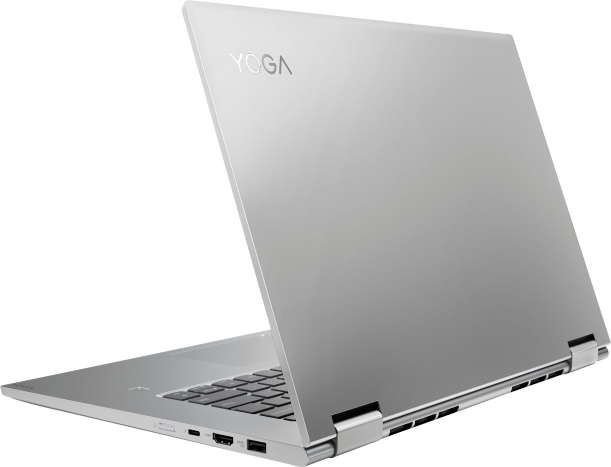 "Alt View Zoom 1. Lenovo - Geek Squad Certified Refurbished Yoga 15.6"" 4K UHD Laptop - Intel Core i7 - 16GB Memory - GeForce GTX 1050 - 512GB SSD - Platinum Silver."