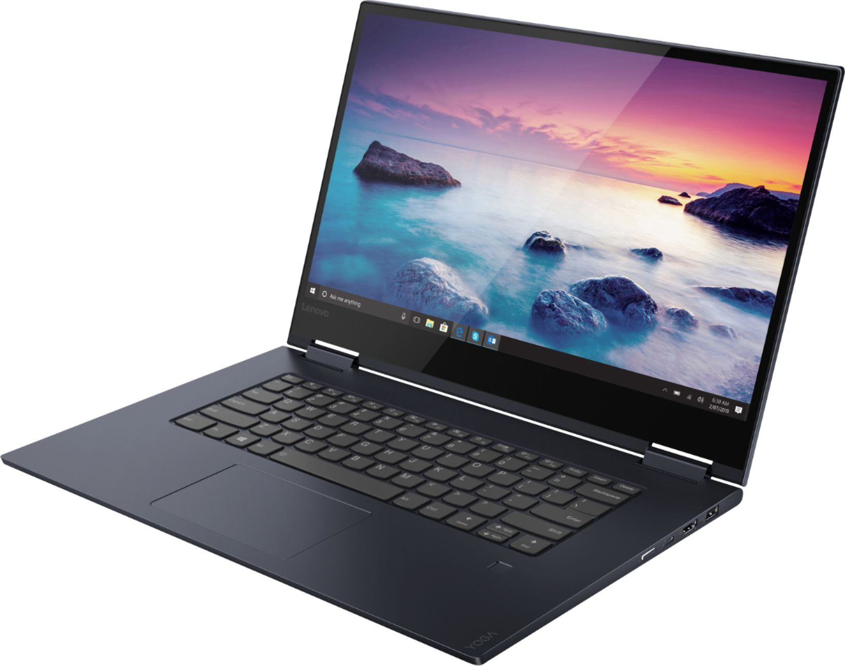 """Left Zoom. Lenovo - Geek Squad Certified Refurbished Yoga 730 2-in-1 15.6"""" Touch-Screen Laptop - Intel Core i7 - 12GB Memory - 256GB SSD - Abyss Blue."""