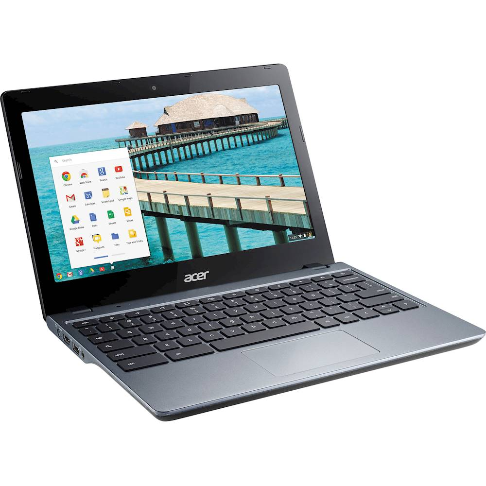 """Angle Zoom. Acer - 11.6"""" Chromebook - Intel Celeron - 4GB Memory - 16GB Solid State Drive - Pre-Owned - Black."""