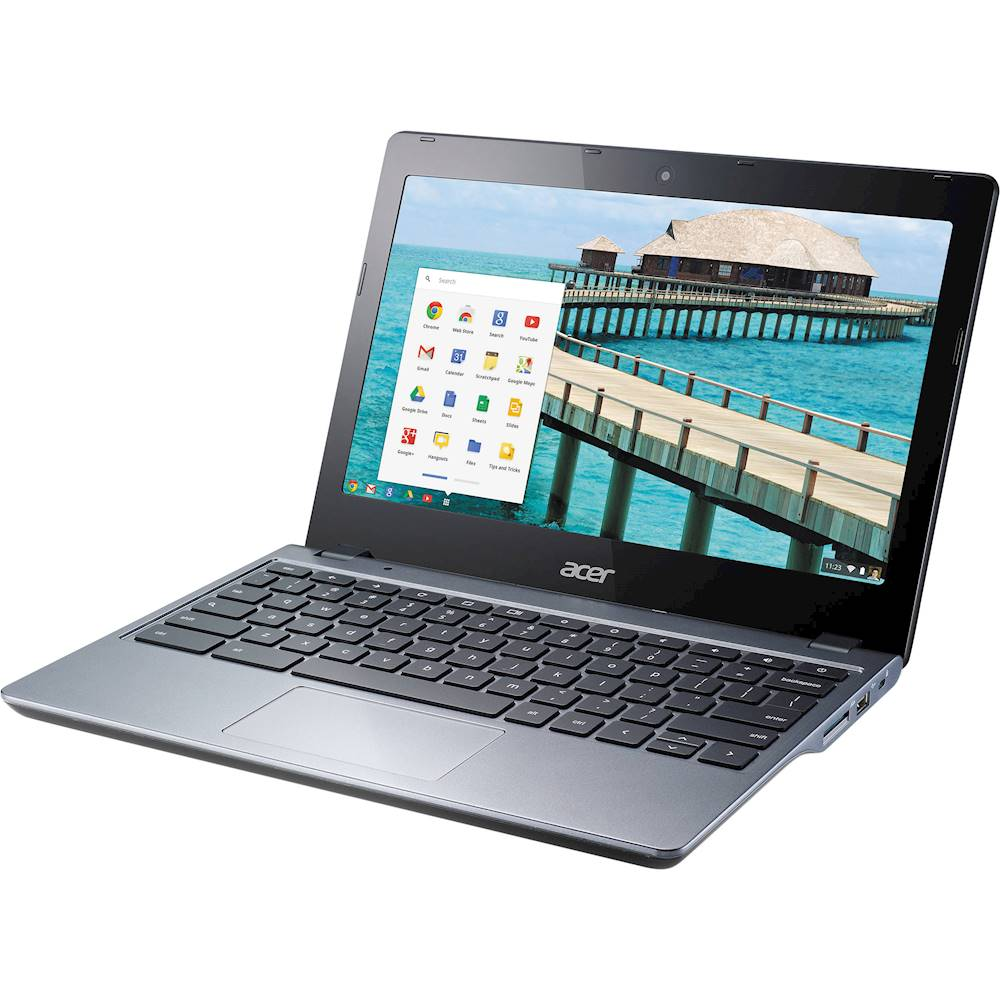 """Left Zoom. Acer - 11.6"""" Chromebook - Intel Celeron - 4GB Memory - 16GB Solid State Drive - Pre-Owned - Black."""
