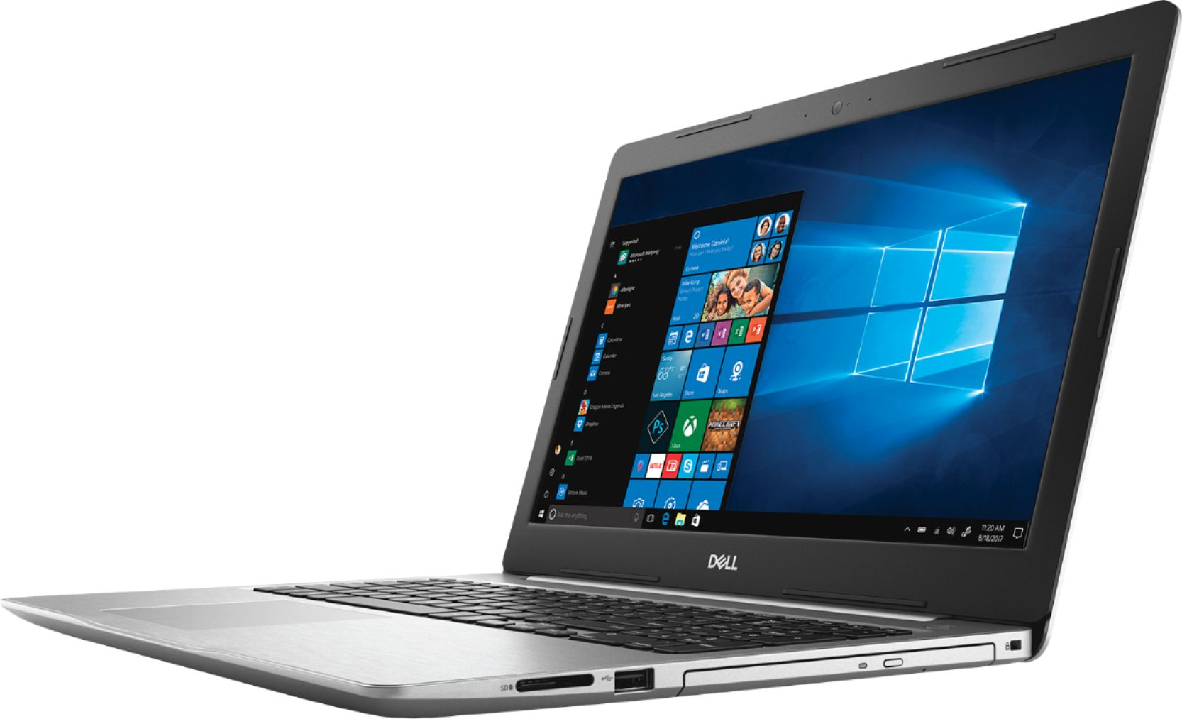 """Left Zoom. Dell - Geek Squad Certified Refurbished Inspiron 15.6"""" Touch-Screen Laptop - Intel Core i7 - 12GB Memory - 256GB SSD - Silver."""