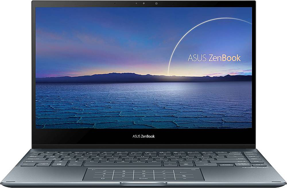 "Front Zoom. ASUS - ZenBook Flip 2-in-1 13.3"" Touch-Screen Laptop - Intel Core i7 - 16GB Memory - 512GB Solid State Drive - Pine Gray."