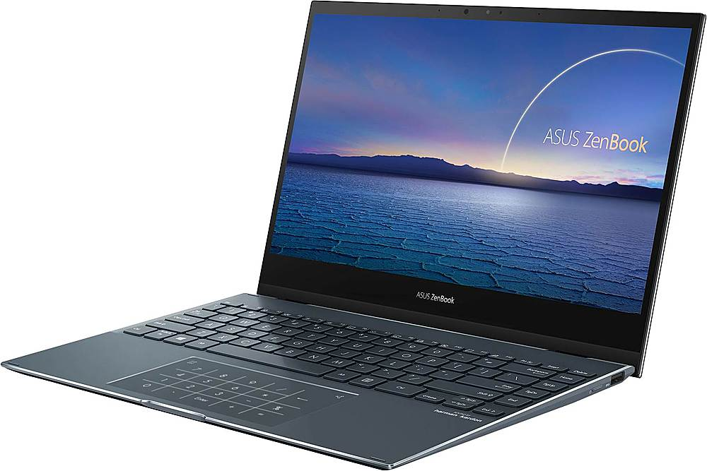 """Left Zoom. ASUS - ZenBook Flip 2-in-1 13.3"""" Touch-Screen Laptop - Intel Core i5 - 8GB Memory - 512GB Solid State Drive - Pine Gray."""