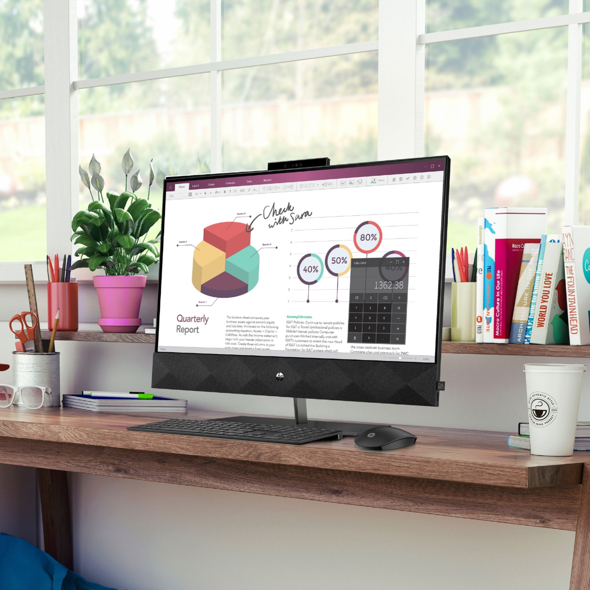 "Left Zoom. HP - Pavilion 24"" Touch-Screen All-In-One - Intel Core i5 - 12GB Memory - 256GB SSD - Sparkling Black."